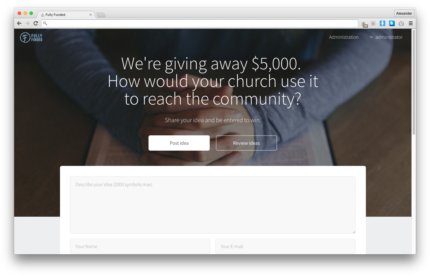 Fully Funded 5k - Home page
